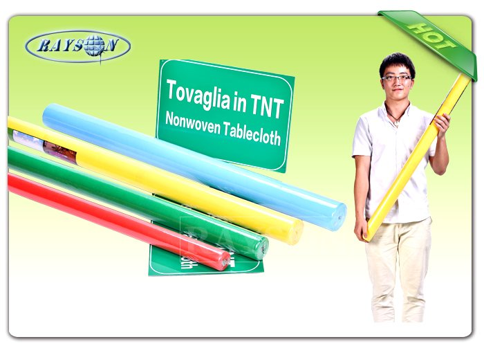 2CM / 4CM Paper Core Non Woven Tablecloth / TNT Fabric Roll 45G / 50G / 60G / 70G