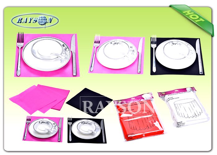 One Time Use Diposable Non Woven Tablecloth / TNT Table Cutting By Different Size 45G / 50G / 60G / 70G