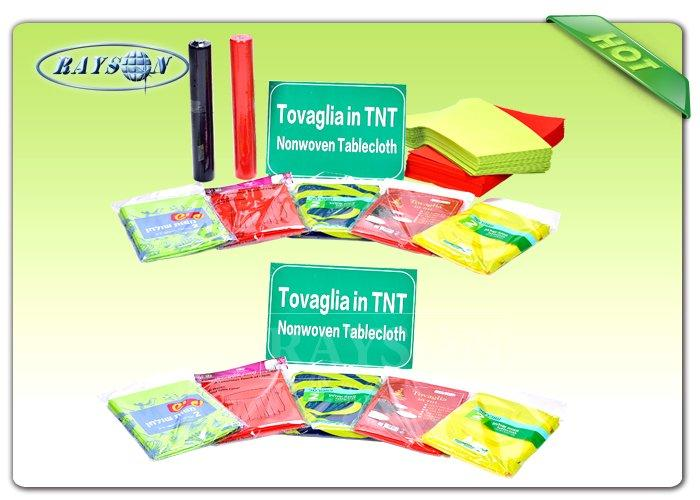 Anti - bacterial / Anti - chemical 60gram Printable Non Woven Tablecloth in Different Colors-1