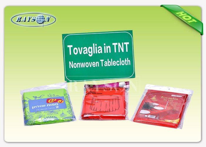 Non - Slip White Round  Non Woven Tablecloth , TNT Table Cover For Wedding