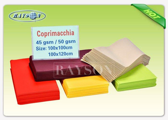 Disposable Non Woven Tablecloth Size 120CMX100CM Square For Restaurant