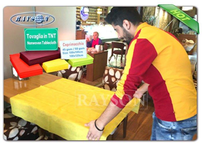 Square / Round 45Gr / 60Gr / 70gR Non Woven Tablecloth In TNT Eco-Friendly / Disposable Table Covers
