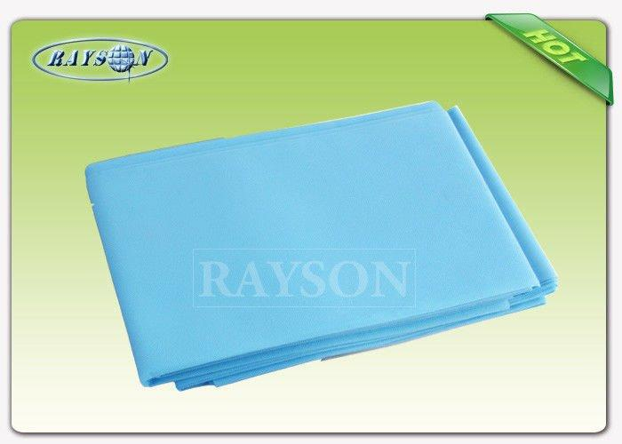 Disposable Absorbent Non woven Bed Sheet Blue Color 80cm × 210 cm 38 gram