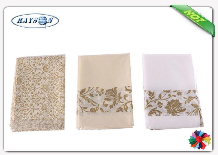 Pre - cuted Clean And Soft Six Colors Printed Non Woven Tablecloth In Folded Packaging